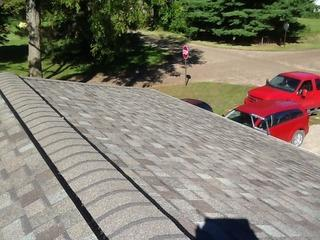 Here's a view of the beautiful new roof we installed after helping remedy storm damage.