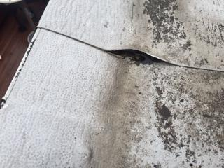 Seals failing on rubber roof.