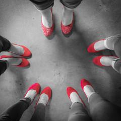 Before the walk, the girls took pictures of their red high heels.