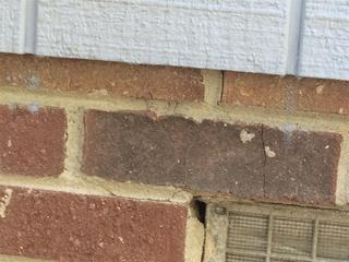 Just one of the numerous exterior cracks found at customer Margaret's home in Columbia, South Carolina.