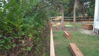 A view of the cedar fence install.