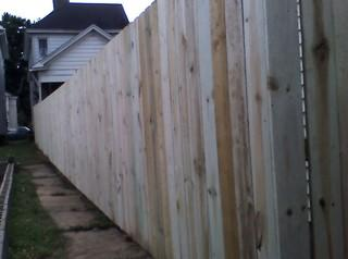This is a photo of the fence from inside the backyard.