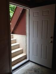 Old wooden door? Air escaping from entry way in basement? Our fix for your entry door problems is the best in the area. This home had moisture seeping through the entry way and raising the humidity levels in the basement. This beautiful new door was just the fix that the homeowners needed.