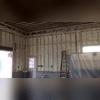 Spray foam insulation applied to garage walls