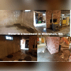 This photo includes 4 photos showing the water accumulation the customer was experiencing in their basement. The water was coming through in different spots, and at different levels.
