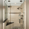 See a closeup of this beautifully remodeled walk-in shower. We helped Greg and Helen design a custom shower that was roomy but would also fit their space.