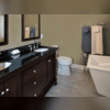 We helped Sharon and Edward design a custom bathroom that made great use of the limited amount of space they had. Arranging the tub, toilet, and vanity in this way gave them the most out of their space.