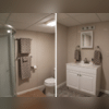 This full bathroom features a standing shower, toilet and appropriate sized sink.