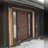 The new ThermaTru door was installed perfectly with the build out of the wall. The new door was smaller than the door it replaced.
