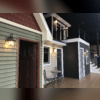 Closer view of the exterior lighting on small scale homes.