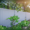 Check out this stylish white vinyl fence!