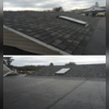The job has been completed, and a few different angles show how the new shingles were installed around the skylight.