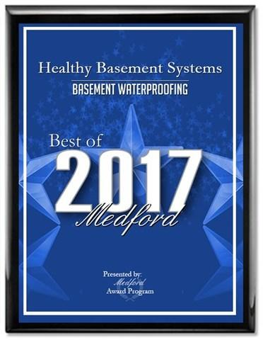 Healthy Basement Systems has been selected for the 2017 Best of Medford Award in the Basement Waterp...