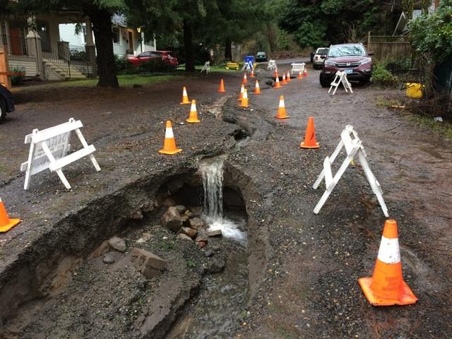 Washed out road in Portland