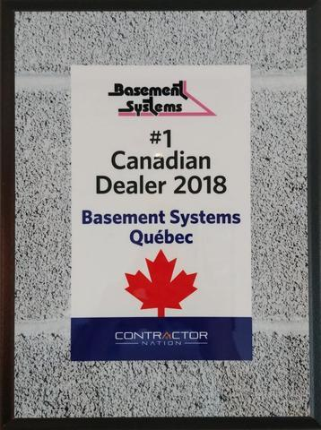 We won the award for #1 Canadian Dealer 2018 of the Basement Systems network - Image 2