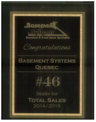 Basement Systems Quebec recently received an award for ranking among the top 50 dealers of Basement ...