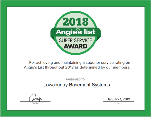 Lowcountry Basement Systems Earns 2018 Angie\'s List Super Service Award - Image 1