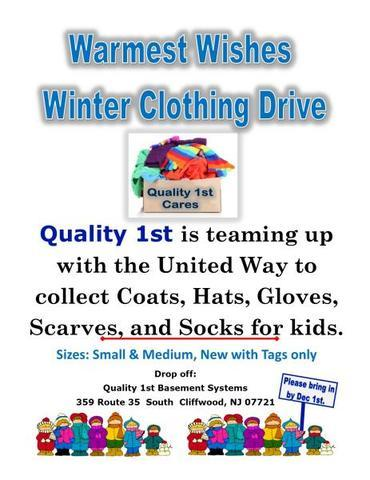 Quality 1st Basement Systems collects donations for United Way's Warmest Wishes Clothing Drive