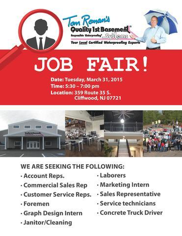 Job Fair at Quality 1st Basement Systems in Monmouth County - Image 1
