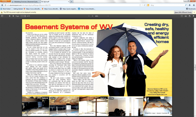 Basement Systems of West Virginia is featured in the October edition of 'Your Home,' a publication o...