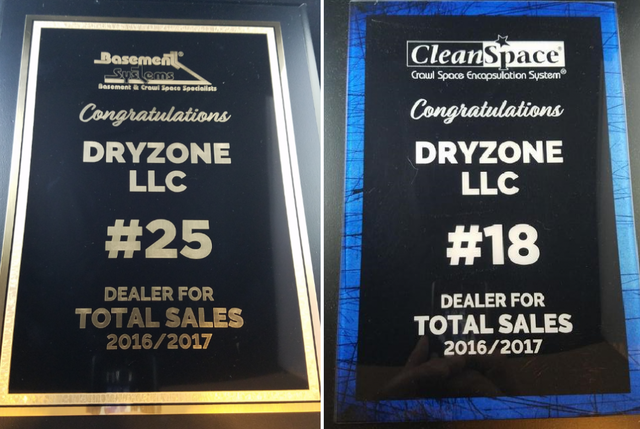 DryZone LLC based in Ellendale, DE was recently awarded as one of the top dealers in both Basement S...