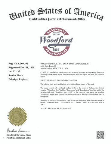 Registered trademark for Woodford Bros Basement and Foundations represent the culmination of years o...