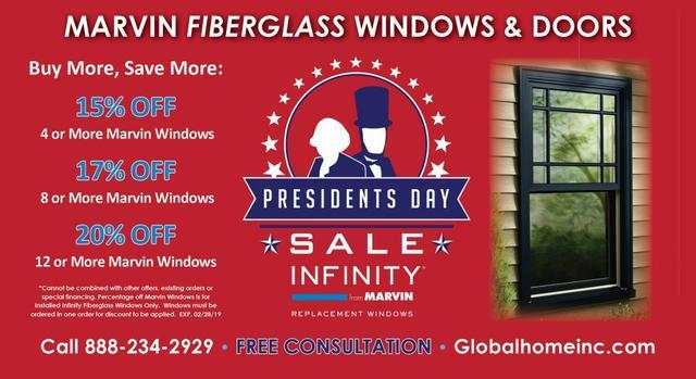 President's Day Savings Marvin Windows Installed by Global Home Improvement