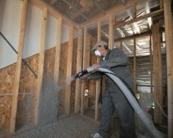 Cellulose insulation filling a wall space in Ontario